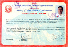 Everest Expedition Certificate Jorge